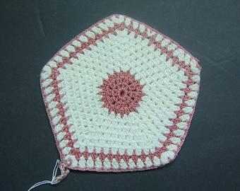 Vintage Pot Holder - Hand Crochet - Pink and White