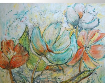 Large Contemporary Art, Flowers Wall Art, Large Art Abstract Painting, Modern Wall Decor, Original Handmade