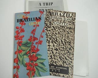 Vintage Coffee Brochures 3 1930s Brazilian Coffee Brochures & Map 1939 Golden Gate Exposition Vintage Coffee Department of Brazil