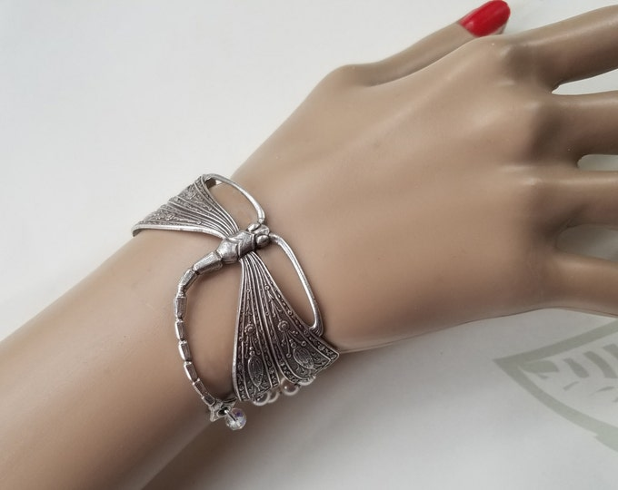 Featured listing image: Art Nouveau Dragonfly Bracelet, Silver, Vintage French Nouveau, Large, Pearls, Crystals, Elegant, Limited Edition, Bold, Statement Jewelry
