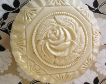 Vintage Carved Rose Round Box, Plastic, Marked Lapin, Small Size, Beautiful Condition, 1950's