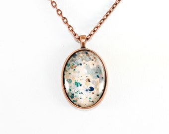 Splatter Painting Pendant - Abstract Art Glass Oval Necklace - Pale Pink, Gold, Gray, Teal - One-of-a-Kind Jewelry Gifts for Her