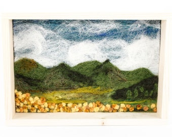 Needle Felted Landscape - Wildflower Valley Scene 6x9 - Natural Wood Frame