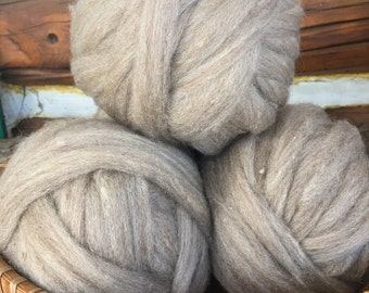 Pin-drafted Shetland Wool Roving soft taupe four ounces