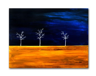 Blue and Yellow from the White Series - Large Original Painting on Canvas - Nicole Dietz, Artist