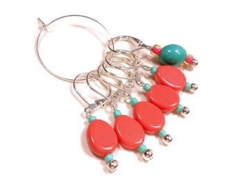 Removable Stitch Markers Crochet Row Markers Opaque Coral Turquoise Locking Knitting Supplies DIY Crafts