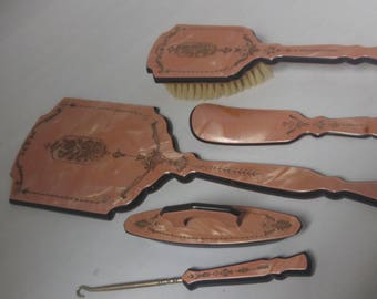 Fancy Vanity Set Pink French Ivory Mirror, Shoe Horn, Brush, Nail Buff, Button Hook Celluloid #B519