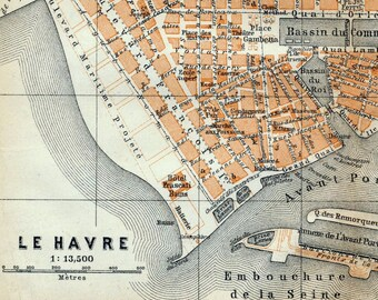 Antique Map of Le Havre, France - 1905 Vintage City Map - Old City Map