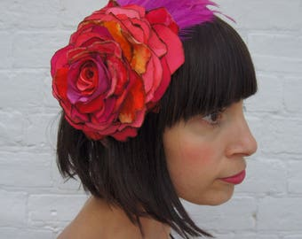 Bright pink flower headpiece recycled vintage velvet and silk with feather wing