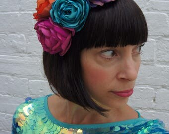 Festival flower headpiece recycled fascinator