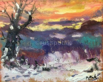 Winter Sunset expressionist landscape painting of  snow, New England scene original impressionist art, acrylic painting, Russ Potak