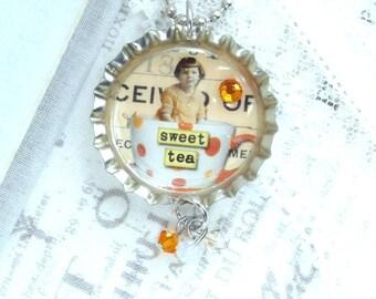 Sweet Tea Necklace Bottle Cap Necklace Teacup Necklace Vintage Style Necklace Tea Lover Gift Teacup Jewelry