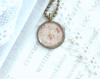 Rose Charm Necklace Shabby Chic Rose Necklace Pink Rose Necklace Vintage Style Necklace