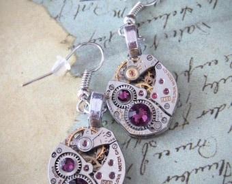 Steampunk ear gear - Amethyst - Steampunk Earrings - Repurposed art