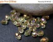 WINTER SALE Czech Glass Faceted Canary Yellow Faceted Rice Shape Beads - 5mmx3mm - 40 pcs