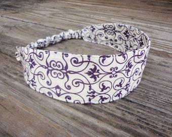 Fabric Headband with Elastic: Dark Purple Print