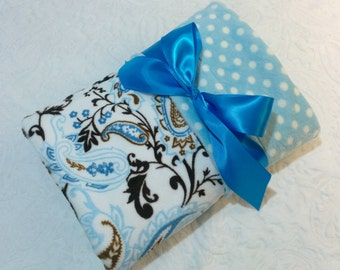 CLEARANCE SALE - NOW just 20 dollars - Ready to Ship - Minky Baby Blanket - Mocha and Blue Paisley with Blue Polka Dot Minky - Crib Size