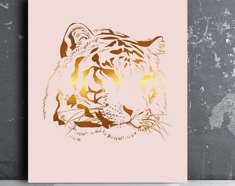 Tiger print cat print Animal print baptism baby gift baby girl gift girl room Nursery baby boy Kids Wall Art gold pink safari nursery