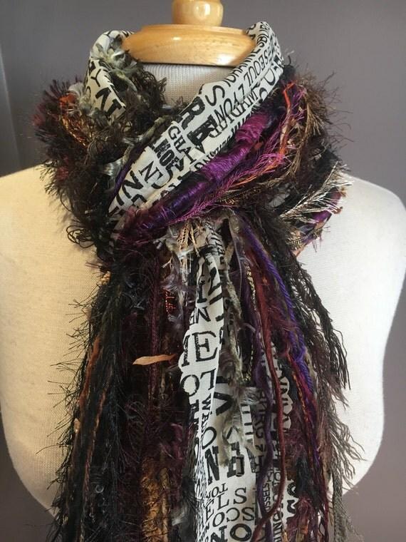 Fringe art scarf, Long scarf, Fringie, Traveler, Purple rust brown, city print ribbon scarf, travel gift, vacation wear, funky scarf, boho