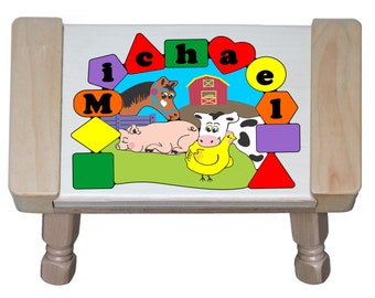 Personalized Name Farm Animals Cow Pig Chicken Horse Wooden Primary Puzzle Stool Educational Toy Preschool