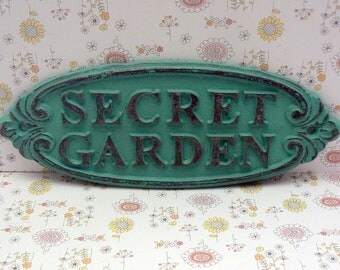 Secret Garden Gate Wall Plaque Sign Cast Iron Shabby Elegance Medium Turquoise Aqua Blue Oval Oblong Ornate Scroll Accented Wall Door Sign