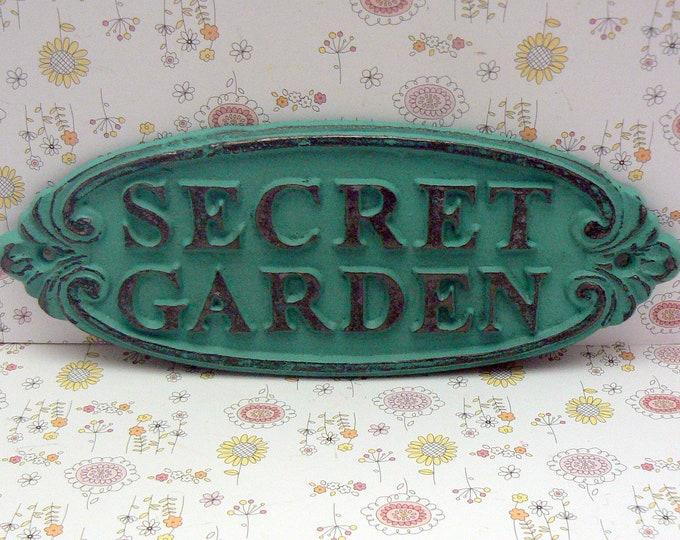 Secret Garden Gate Cast Iron Sign Turquoise Aqua Wall Plaque