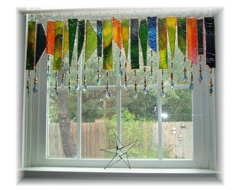 Uber Uroboros Artglass NUMBER TWO Stained Glass Window Treatment Valance Curtain