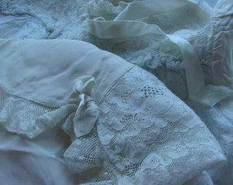 Antique Handmade Bebe Silk Chiffon French Baby or Large Doll Dress Gown