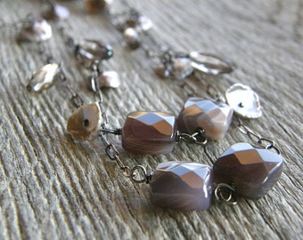 Extra Long Botswana Agate, Keshi Pearl and Smokey Quartz Charm Necklace, Long Sterling Silver Necklace