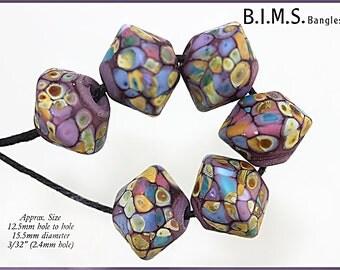 Lampwork Beads, 6 Handmade Purple, Green, Blue, Gold, Pink Glass Lampwork Raku Bicone Beads, Bims Bangles, Big Hole, Made to Order