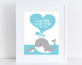 whale art print - mum & baby dream big ocean little one, colourful kids nursery art children baby girl boy wall art animal - rainbow bright