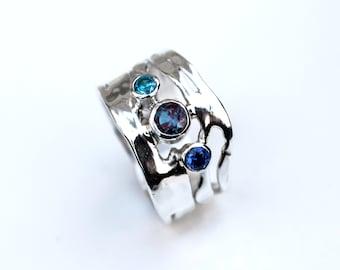 Alexandrite Ring, Sterling Silver Alexandrite Tanzanite Blue Topaz Organic Design Ring, Multi Stone Ring, Mothers Ring, Made to Order