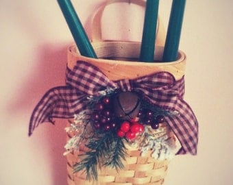 Basket, Wood, Winter, Holiday, Rustic, Country look