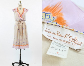70s Dress Zandra Rhodes XS  / 1970s Dress Novelty Print Silk  /  Starburst Clock Atomic Dress