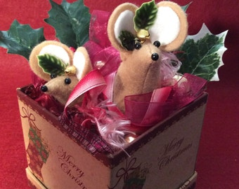 Two Felt Mice in a Christmas Box