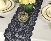 Dark Navy Blue Lace Table Runner with Large Scalloped Edge Style LNB01