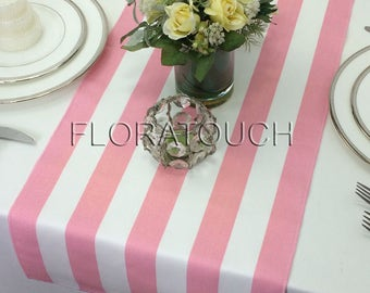Pink Stripe Table Runner Pink and White Striped Wedding Table Runner with pink stripes on the borders