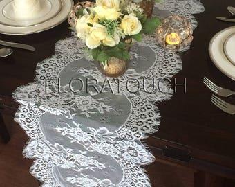 """White Lace Table Runner Wedding Table Runner 120""""x13"""""""
