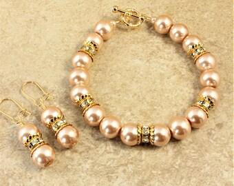 Champagne Glass Pearl Gold Rhinestone Wedding Bracelet and Earrings Set Bridal Bridesmaid Bride