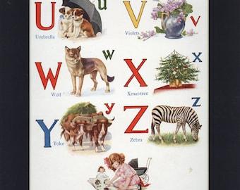 Adorable Childrens Vintage 1947 Alpabet U to Z Print