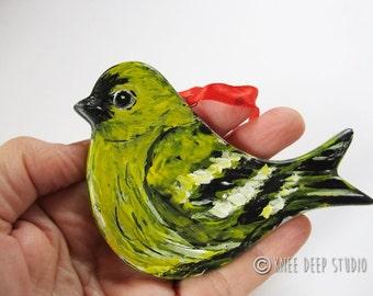 Hand Painted Songbird Decor - Goldfinch Window Ornament - Yellow Bird Art - OOAK Bird Painting - Mothers Day Gift - Original Bird Home Decor
