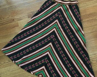 Vintage 1970s Boho Hippie Woven Chevron and Butterflies Skirt Size XS Small