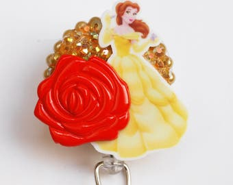 Beauty And The Beast Princess Belle ID Badge Reel - Retractable ID Badge Holder - Zipperedheart