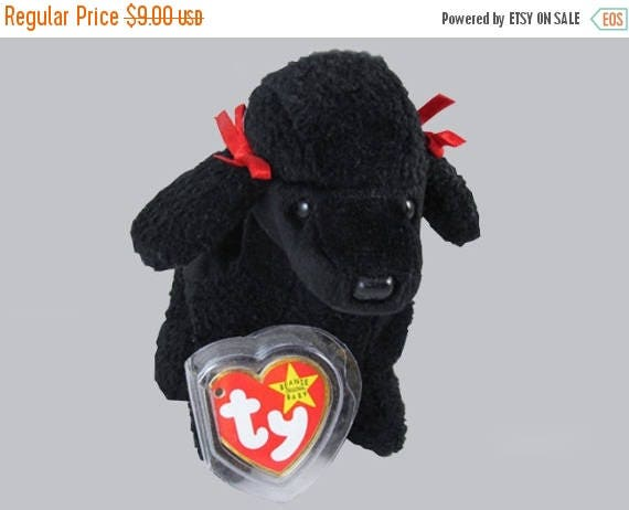 SPRING CLEANING SALE 1997 Ty Original Beanie Baby Gigi black poodle dog plush toy stuffed animal