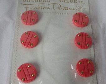 Vintage  Set of 6 Salmon Pink and Gold Fashion Buttons in Original Card and wrapping.