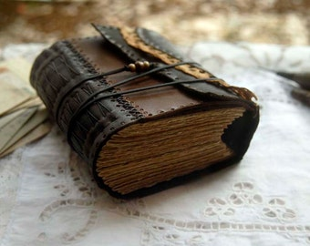 The Novelist - Recycled Leather Journal, Vintage Linen, Aged Paper, OOAK