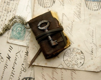 The Petite Poet - Miniature Wearable Book, Vintage Brown Leather, Tiny Vintage Key. OOAK