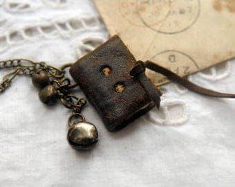 The Little Gypsy - Mini Wearable Book, Dark Brown Leather, Tea Stained Pages & Vintage Bells, OOAK