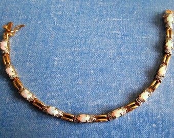 BRACELET - Estate Sale - 10 - Ten -  OPALS - VERMEIL - Link - 925  - Sterling Silver - 7 1/2 inch   bracelet366