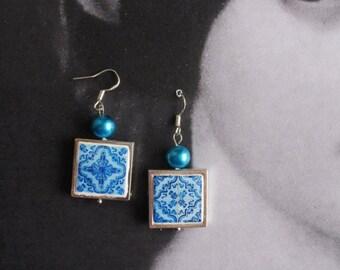 Earrings Silver Portugal Tile Portuguese  Antique Azulejo  Replica FRAMED  Cartaxo- BLUE  (see facade photo) Gift Boxed Ceramic 808